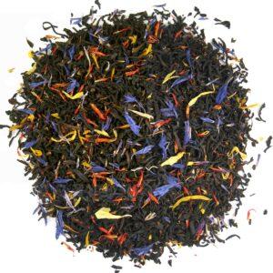 Losse zwarte thee met bloesems