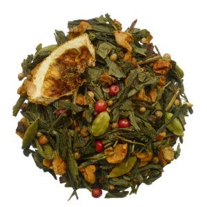 Losse groene thee met diverse specerijen
