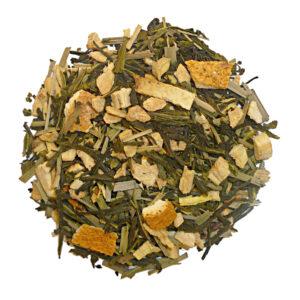 Losse groene thee met gember en sinaasappel